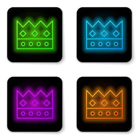 Glowing neon line King crown icon isolated on white background. Black square button. Vector Illustration Ilustrace