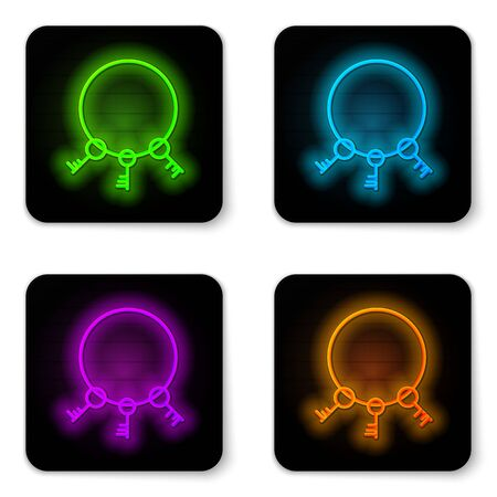 Glowing neon line Old keys icon isolated on white background. Black square button. Vector Illustration