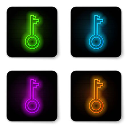 Glowing neon line Old key icon isolated on white background. Black square button. Vector Illustration