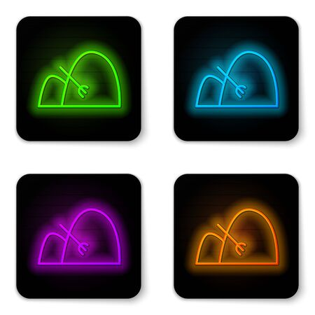 Glowing neon line Bale of hay and rake icon isolated on white background. Black square button. Vector Illustration