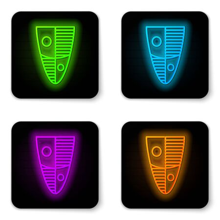 Glowing neon line Shield icon isolated on white background. Guard sign. Security, safety, protection, privacy concept. Black square button. Vector Illustration