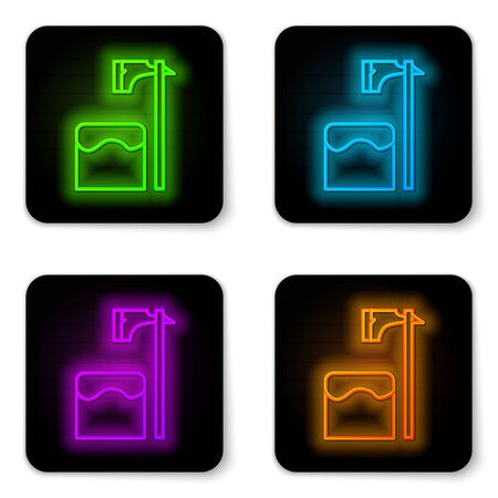 Glowing neon line Executioner axe in tree block icon isolated on white background. Hangman, torturer, executor, tormentor, butcher, headsman. Black square button. Vector Illustration Illustration