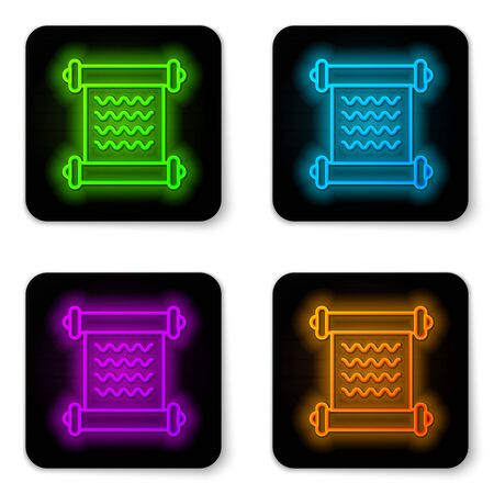 Glowing neon line Decree, paper, parchment, scroll icon icon isolated on white background. Black square button. Vector Illustration