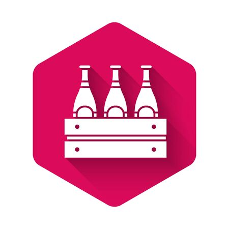 White Pack of beer bottles icon isolated with long shadow. Wooden box and beer bottles. Case crate beer box sign. Pink hexagon button. Vector Illustration