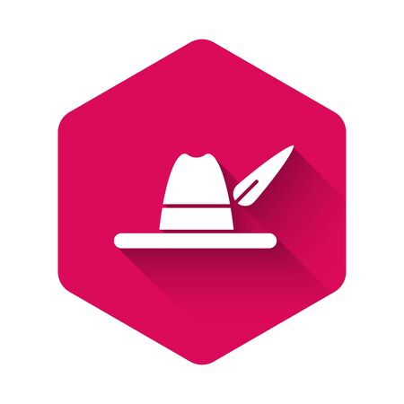 White Oktoberfest hat icon isolated with long shadow. Hunter hat with feather. German hat. Pink hexagon button. Vector Illustration