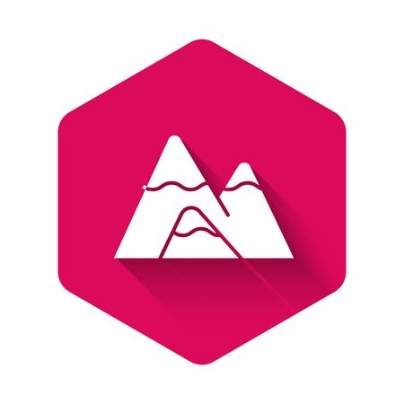 White Mountains icon isolated with long shadow. Symbol of victory or success concept. Pink hexagon button. Vector Illustration