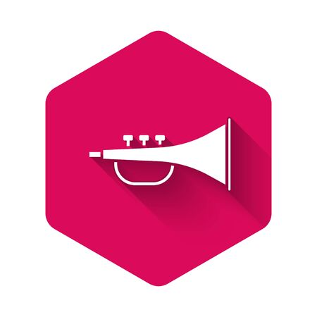 White Musical instrument trumpet icon isolated with long shadow. Pink hexagon button. Vector Illustration