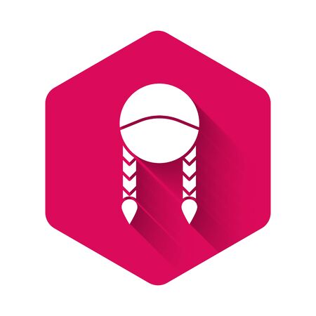 White Braid icon isolated with long shadow. Pink hexagon button. Vector Illustration Ilustração