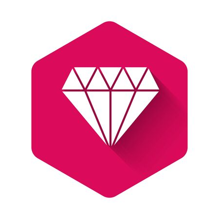 White Diamond icon isolated with long shadow. Jewelry symbol. Gem stone. Pink hexagon button. Vector Illustration