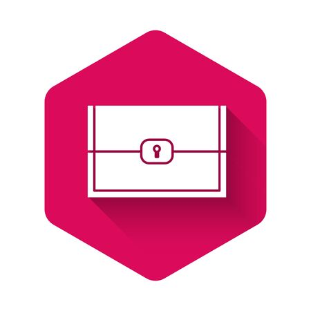 White Chest for game icon isolated with long shadow. Pink hexagon button. Vector Illustration
