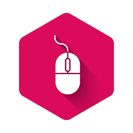 White Computer mouse icon isolated with long shadow. Optical with wheel symbol. Pink hexagon button. Vector Illustration
