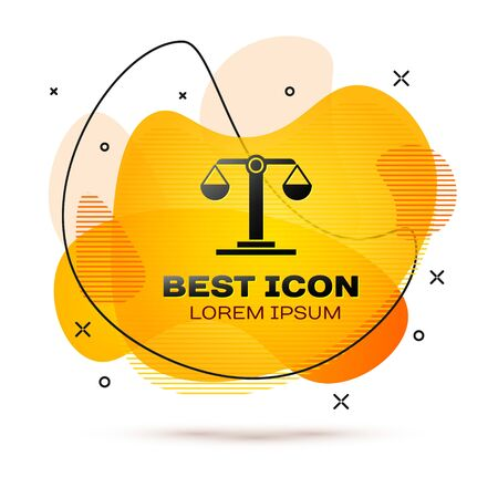 Black Libra zodiac sign icon isolated on white background. Astrological horoscope collection. Abstract banner with liquid shapes. Vector Illustration