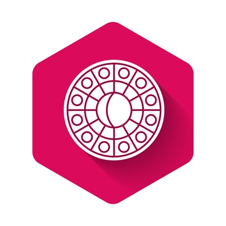 White Astrology horoscope circle with zodiac icon isolated with long shadow. Pink hexagon button. Vector Illustration