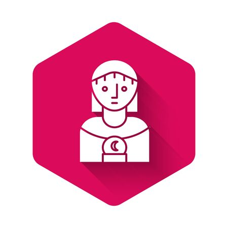 White Astrology woman icon isolated with long shadow. Pink hexagon button. Vector Illustration