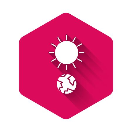 White Solstice icon isolated with long shadow. Pink hexagon button. Vector Illustration