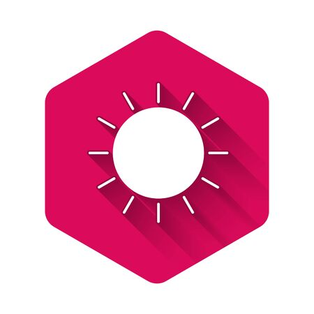 White Sun icon isolated with long shadow. Pink hexagon button. Vector Illustration