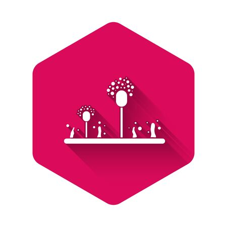 White Mold icon isolated with long shadow. Pink hexagon button. Vector Illustration