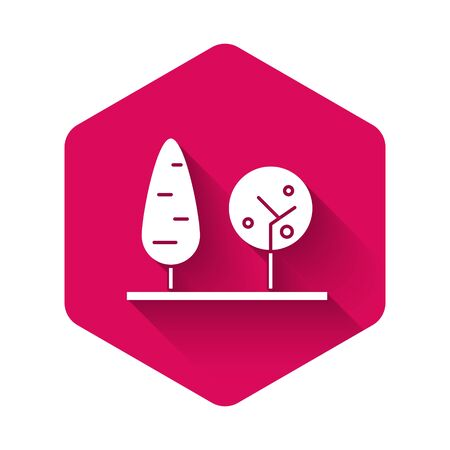 White Trees icon isolated with long shadow. Forest symbol. Pink hexagon button. Vector Illustration