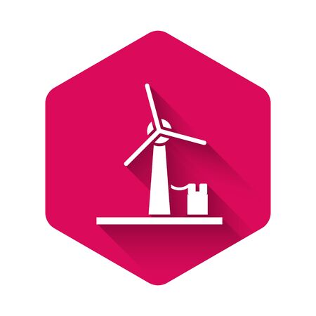 White Wind turbine icon isolated with long shadow. Wind generator sign. Windmill for electric power production. Pink hexagon button. Vector Illustration 일러스트