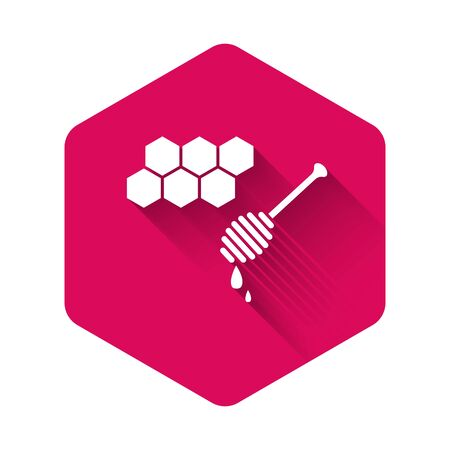 White Honeycomb with honey dipper stickicon isolated with long shadow. Honey ladle. Honey cells symbol. Sweet natural food. Pink hexagon button. Vector Illustration Ilustracja