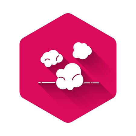 White Dust icon isolated with long shadow. Pink hexagon button. Vector Illustration Ilustrace