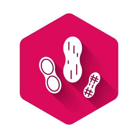 White Peanut icon isolated with long shadow. Pink hexagon button. Vector Illustration