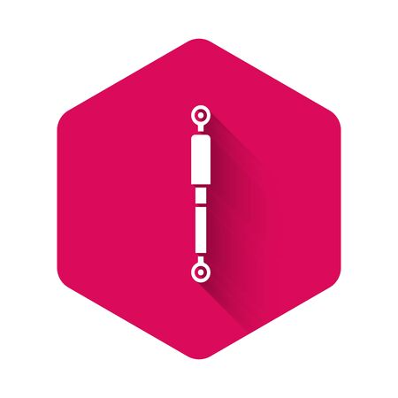White Shock absorber icon isolated with long shadow. Pink hexagon button. Vector Illustration  イラスト・ベクター素材