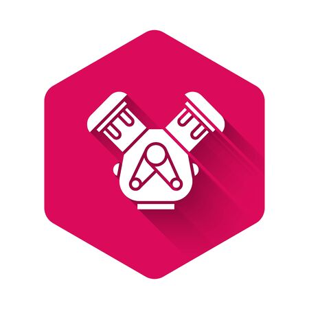 White Car engine icon isolated with long shadow. Pink hexagon button. Vector Illustration 向量圖像