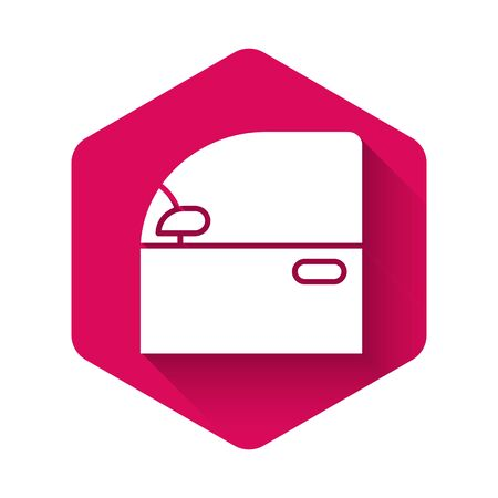 White Car door icon isolated with long shadow. Pink hexagon button. Vector Illustration Vettoriali