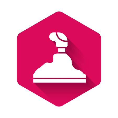 White Gear shifter icon isolated with long shadow. Transmission icon. Pink hexagon button. Vector Illustration