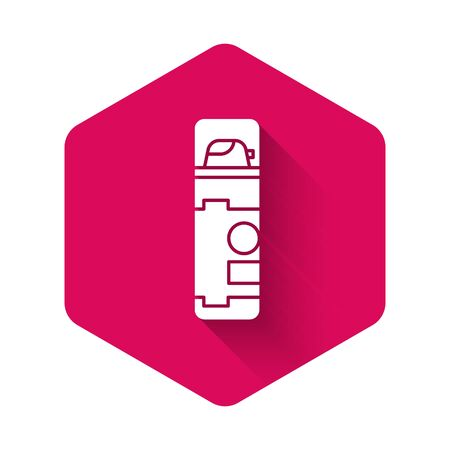 White Shaving gel foam icon isolated with long shadow. Shaving cream. Pink hexagon button. Vector Illustration Иллюстрация