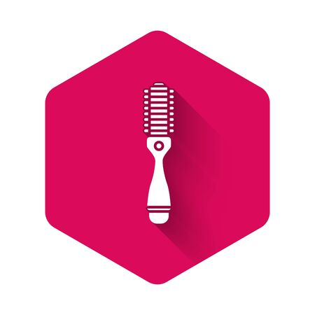 White Hair dryer icon isolated with long shadow. Hairdryer sign. Hair drying symbol. Blowing hot air. Pink hexagon button. Vector Illustration 矢量图像