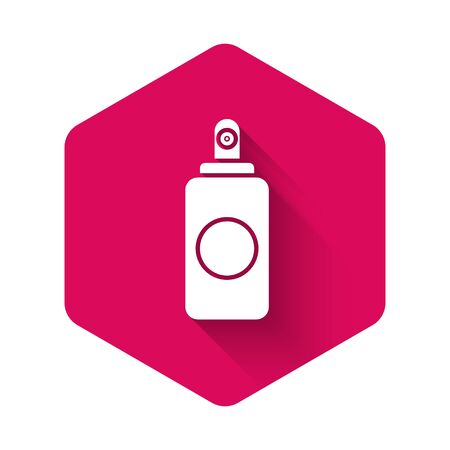 White Spray can for air freshener, hairspray, deodorant, antiperspirant icon isolated with long shadow. Pink hexagon button. Vector Illustration Vettoriali