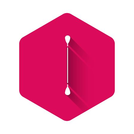 White Cotton swab for ears icon isolated with long shadow. Pink hexagon button. Vector Illustration