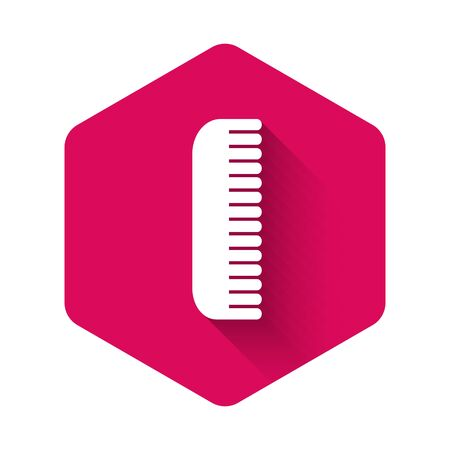 White Hairbrush icon isolated with long shadow. Comb hair sign. Barber symbol. Pink hexagon button. Vector Illustration