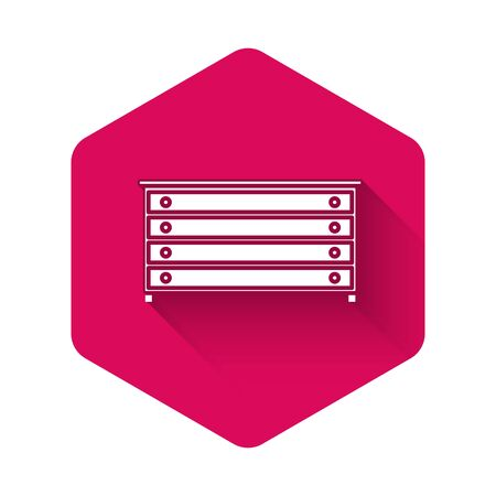 White Chest of drawers icon isolated with long shadow. Pink hexagon button. Vector Illustration
