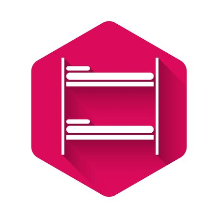 White Bunk bed icon isolated with long shadow. Pink hexagon button. Vector Illustration