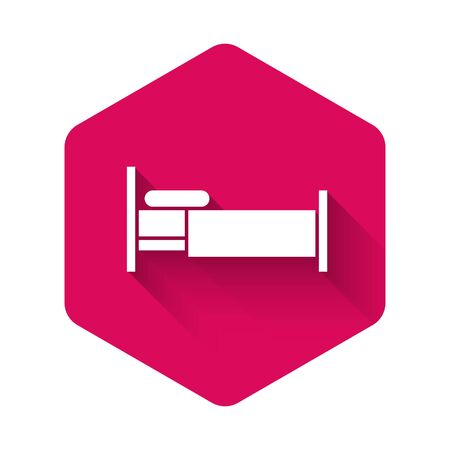 White Bed icon isolated with long shadow. Pink hexagon button. Vector Illustration