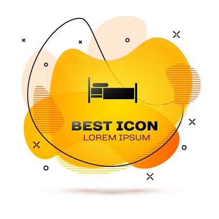 Black Bed icon isolated on white background. Abstract banner with liquid shapes. Vector Illustration