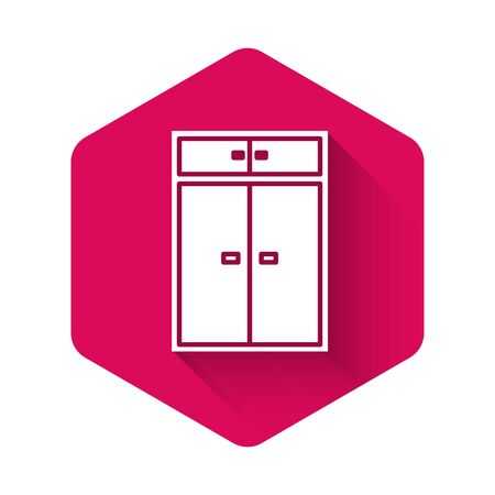 White Wardrobe icon isolated with long shadow. Pink hexagon button. Vector Illustration