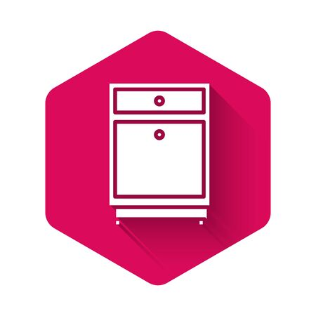 White Furniture nightstand icon isolated with long shadow. Pink hexagon button. Vector Illustration