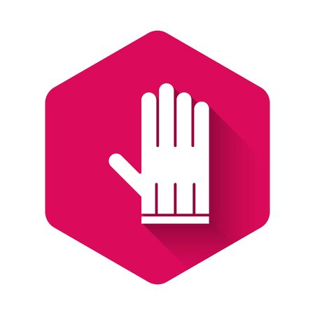White Leather glove icon isolated with long shadow. Pink hexagon button. Vector Illustration
