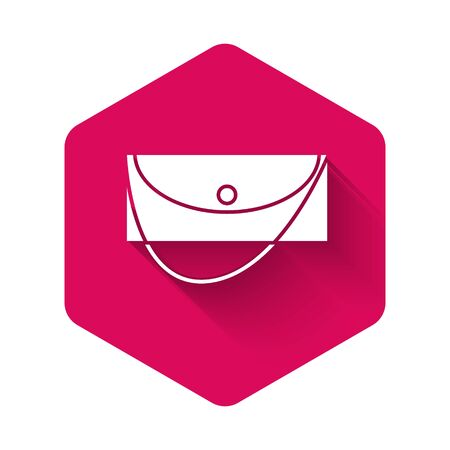 White Clutch bag icon isolated with long shadow. Women clutch purse. Pink hexagon button. Vector Illustration