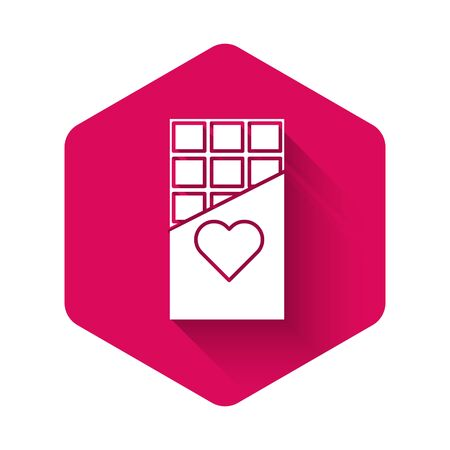 White Chocolate bar icon isolated with long shadow. Valentines day symbol. Pink hexagon button. Vector Illustration