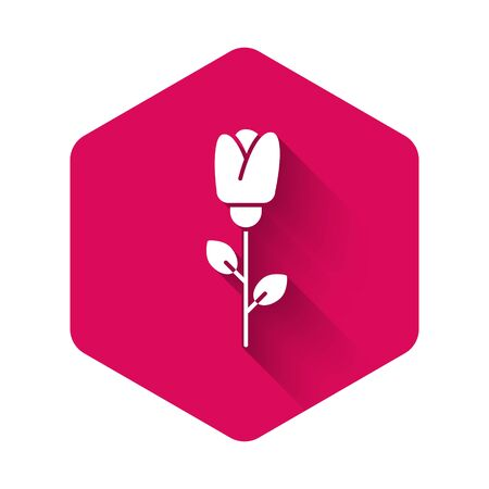 White Flower rose icon isolated with long shadow. Pink hexagon button. Vector Illustration Illustration