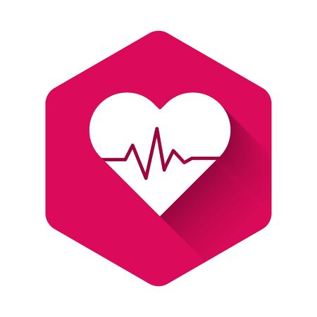 White Heart rate icon isolated with long shadow. Heartbeat sign. Heart pulse icon. Cardiogram icon. Pink hexagon button. Vector Illustration Ilustrace