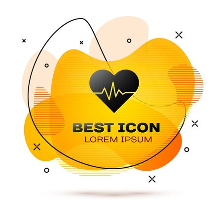 Black Heart rate icon isolated on white background. Heartbeat sign. Heart pulse icon. Cardiogram icon. Abstract banner with liquid shapes. Vector Illustration