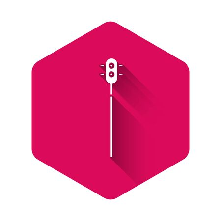 White Medieval chained mace ball icon isolated with long shadow. Medieval weapon. Pink hexagon button. Vector Illustration