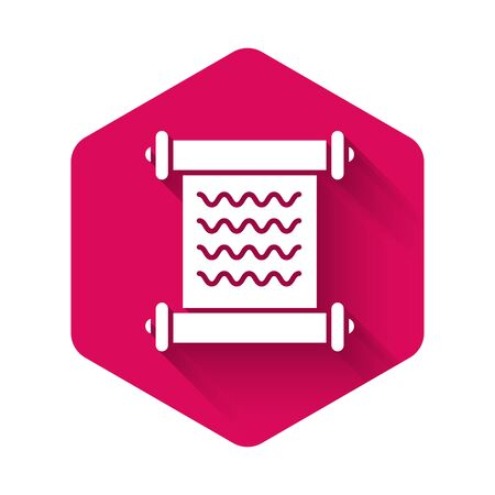 White Decree, paper, parchment, scroll icon icon isolated with long shadow. Pink hexagon button. Vector Illustration