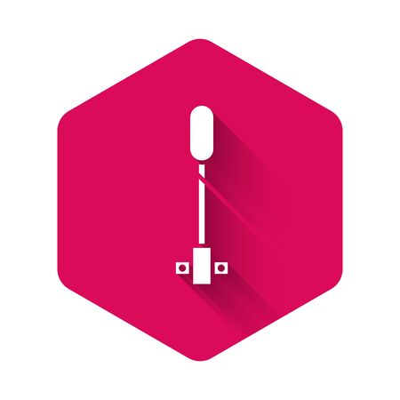 White Torch flame icon isolated with long shadow. Symbol fire hot, flame power, flaming and heat. Pink hexagon button. Vector Illustration